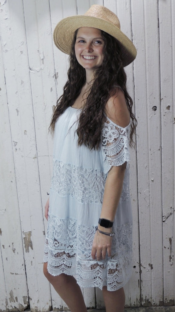 BABY BLUE COLD SHOULDER DRESS
