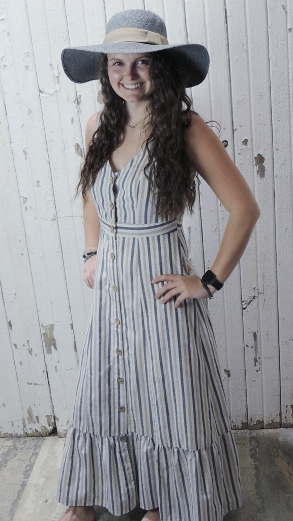 Taupe and Navy Button Maxi Dress