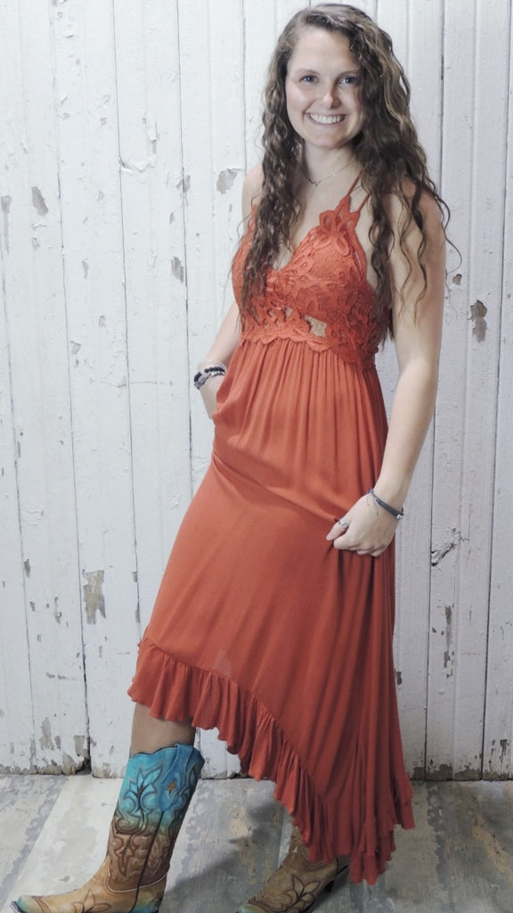 Burnt Orange Lace Dress
