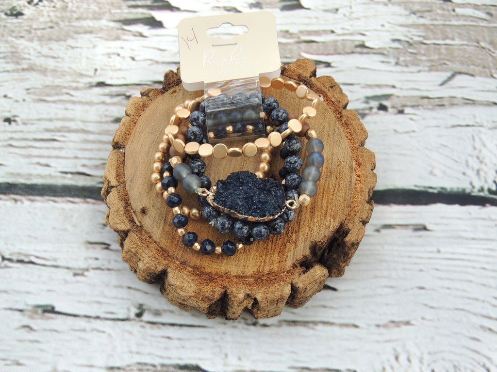 Riah Navy & Gold Bracelet Bundle