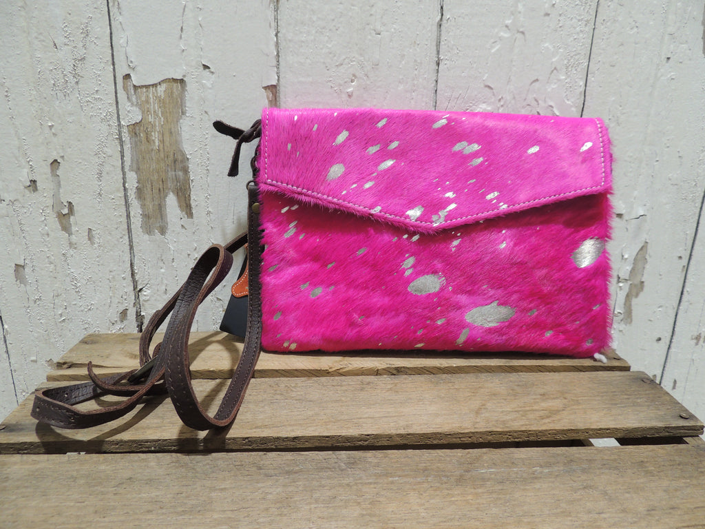 Pink and Silver Splash Crossbody