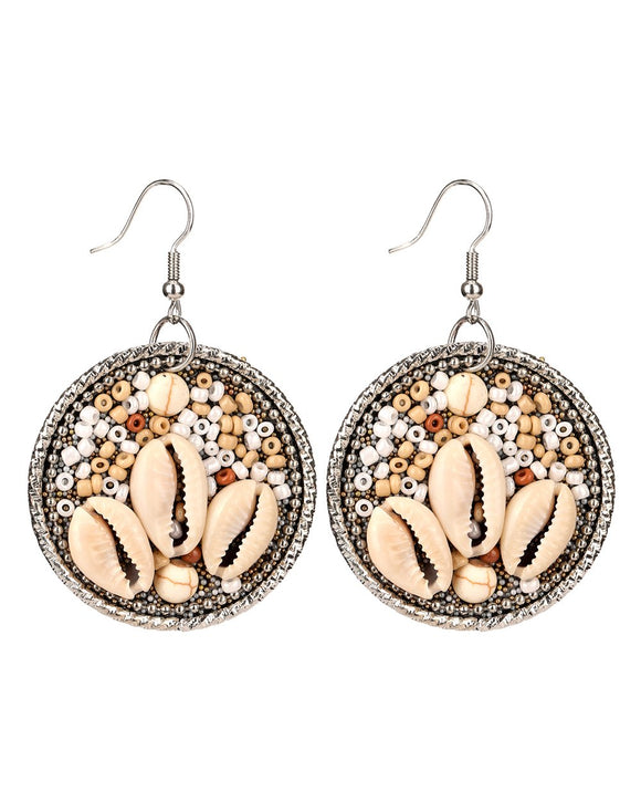 Seed Bead & Shell Earrings Natural
