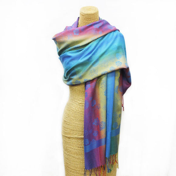 Soft Rose Weave Scarf Blue