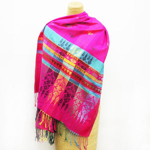 Soft Striped Weave Scarf Pink