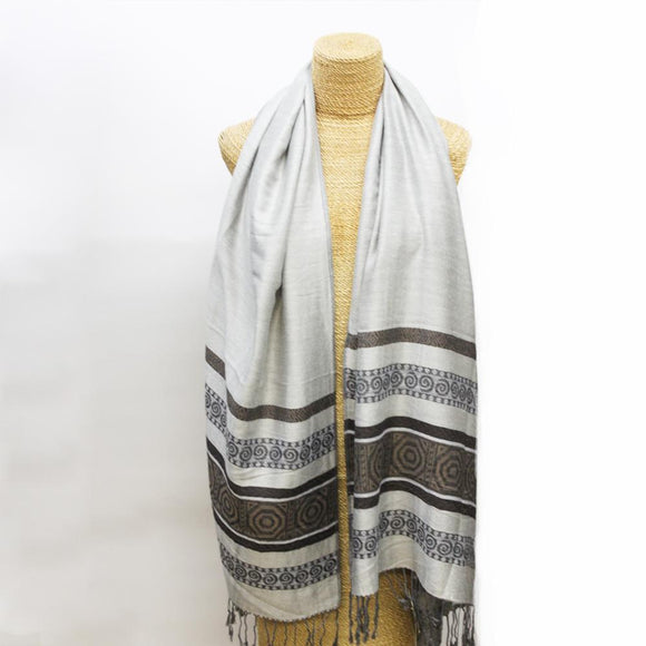 Soft Striped Weave Scarf Grey