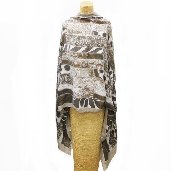 Soft Animal Weave Scarf Brown/Black