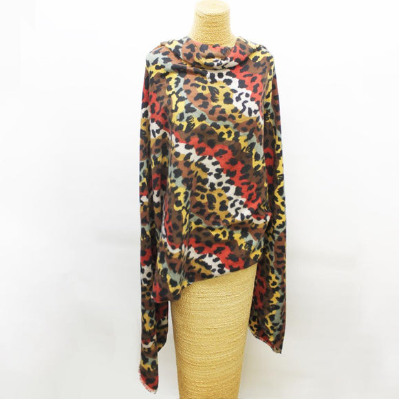 Soft Cheetah Weave Scarf Red