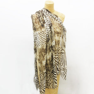 Soft Animal Weave Scarf Black