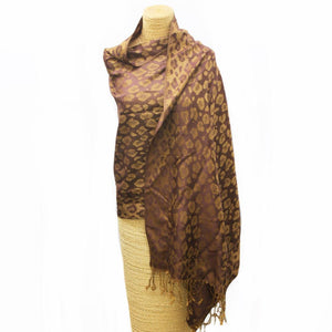 Soft Animal Weave Scarf Brown