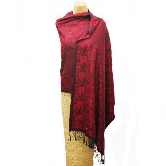Elephant Weave Scarf Red