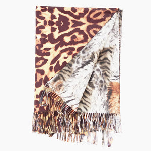 Double Sided Leopard & Tiger Scarf