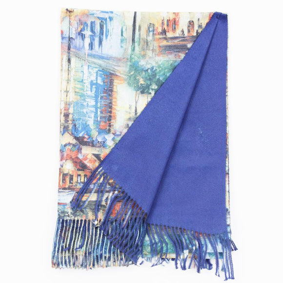 Double Sided Abstract Art & Blue Scarf