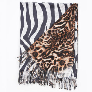 Double Sided Zebra & Cheetah Scarf