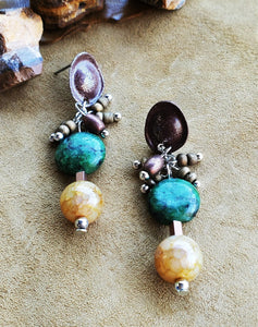 Strata Beaded Drop With Cluster Earrings