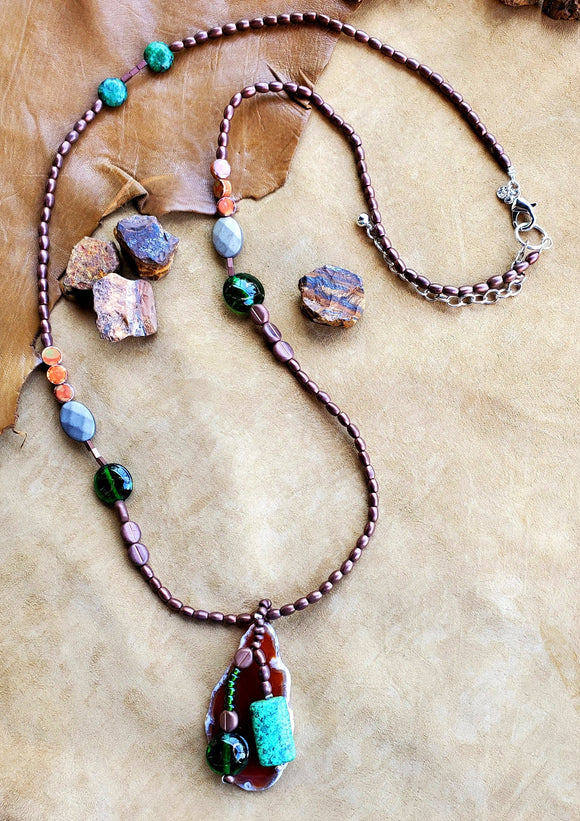 Strata Long Beaded Pendant Necklace