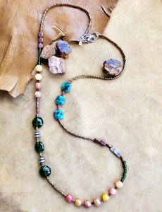 Strata Long Beaded Necklace