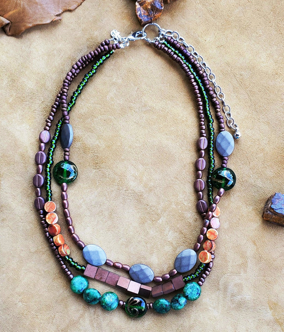 Strata Short 3 Row Beaded Necklace
