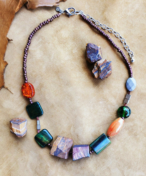 Strata Short Chunky Beaded Necklace