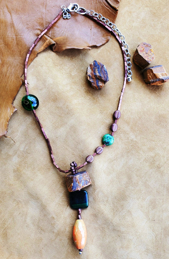 Strata Short Beaded Pendant Necklace