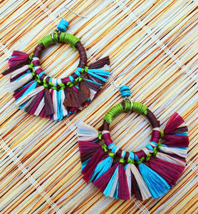 Tiki Multi Color Raffia Fringe Hoop Earrings