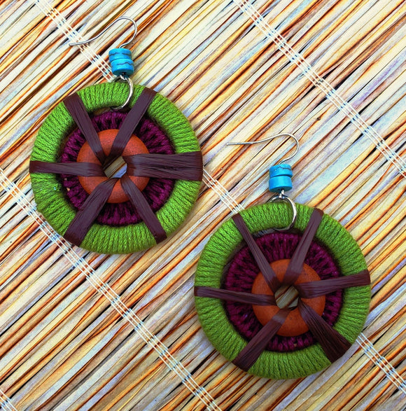 Tiki Cord Wrapped Rings Earrings
