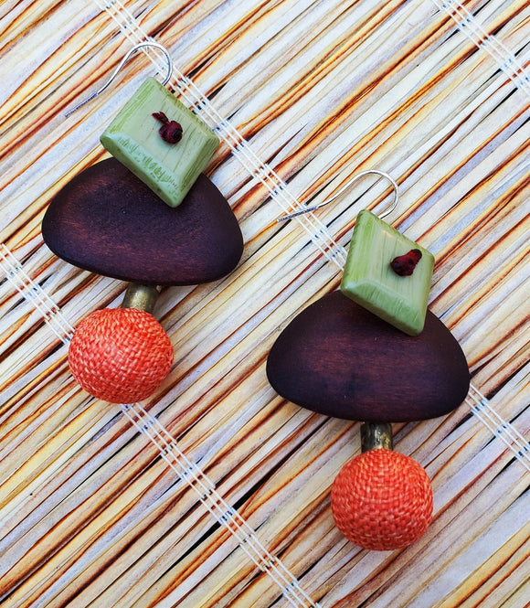 Tiki Wood And Beads Drop Earrings