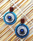 Tiki Turquoise Color Disc Drop Earrings
