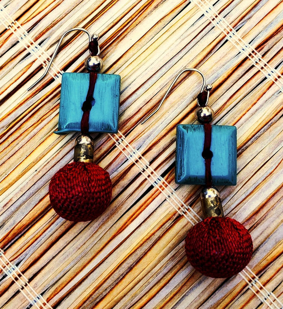 Tiki Linked Bead Drop Earrings
