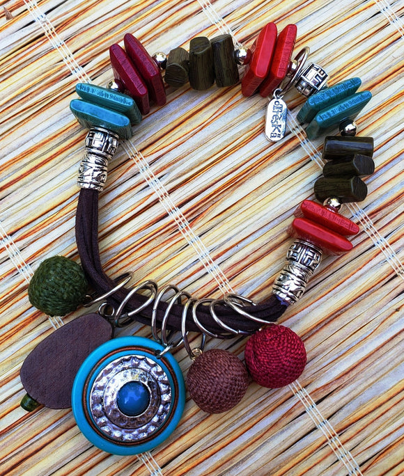 Tiki Bead & Cord Bracelet With Fobs