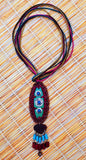 Tiki Long Cord Raffia & Wood Pendant Necklace