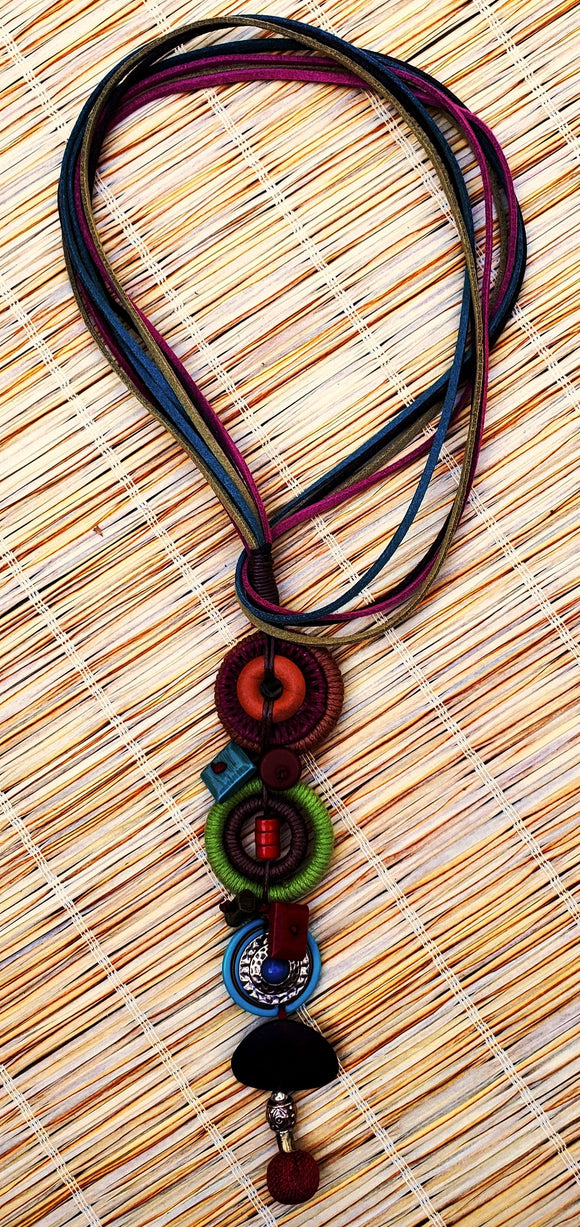 Tiki Long Linked Disc & Ring Pendant Necklace