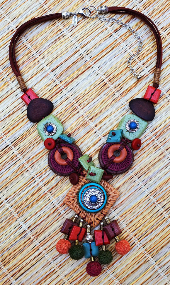 Tiki Linked Shapes Pendant Necklace