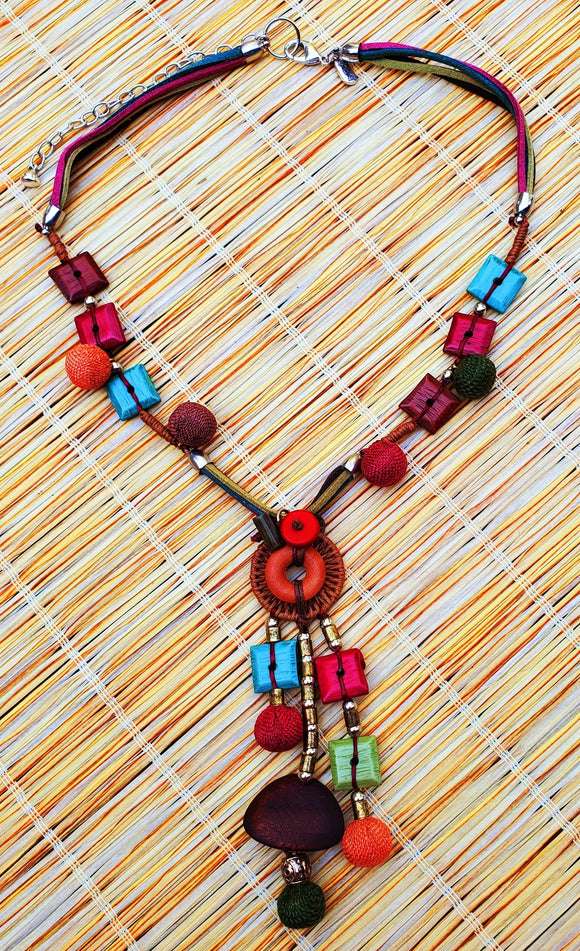 Tiki Bead & Cord Y Necklace