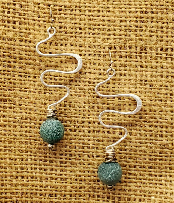 Treska Finds Snake Bar & Stone Earrings Turq