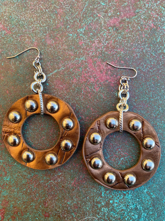 FAUX LEATHER STUDDED HOOPS BRONZE