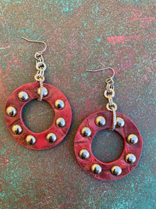 FAUX LEATHER STUDDED HOOPS RED