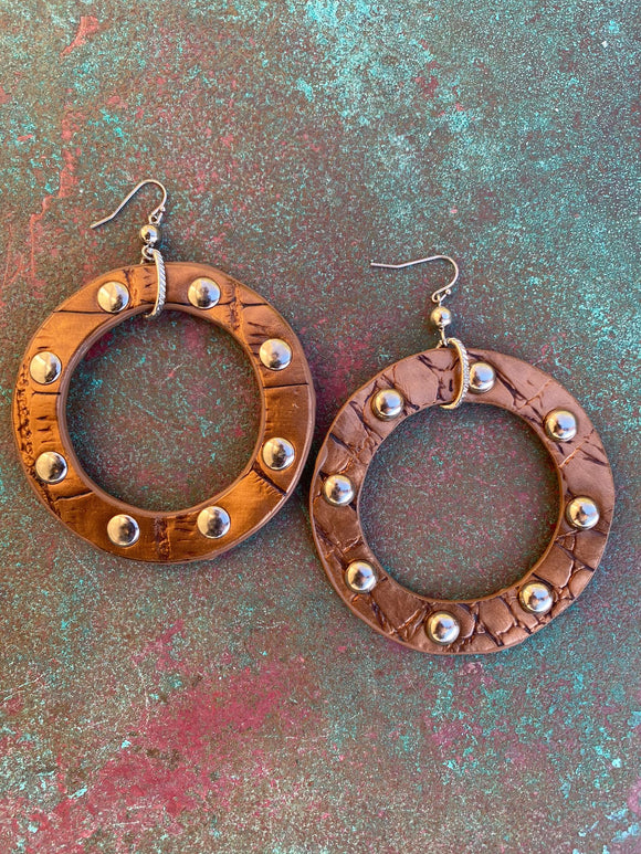 LARGE FAUX LEATHER STUDDED HOOPS BRONZE