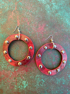 LARGE FAUX LEATHER STUDDED HOOPS RED