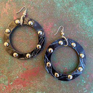 Large Faux Leather Studded Hoops Black