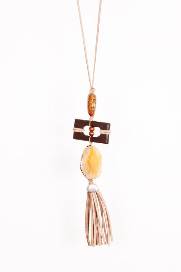 Vintage Finds Long Pendant On Cord Brown