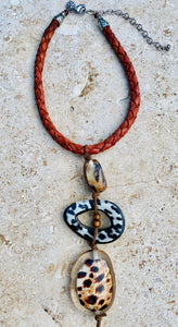 Vintage Finds Pendant Necklace On Braided Leather Cord Animal