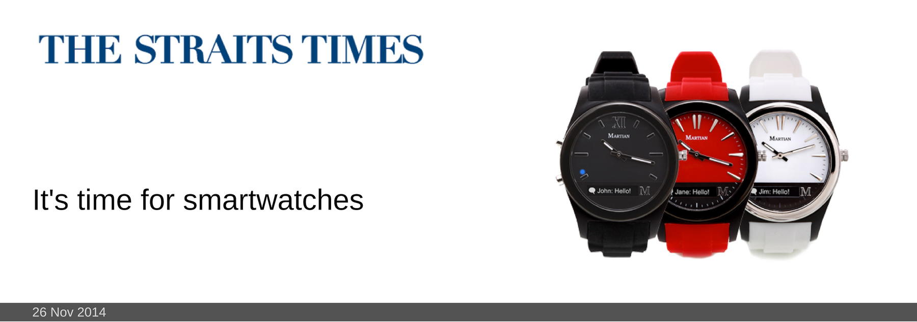 26 NOV 2014: It's time for smartwatches