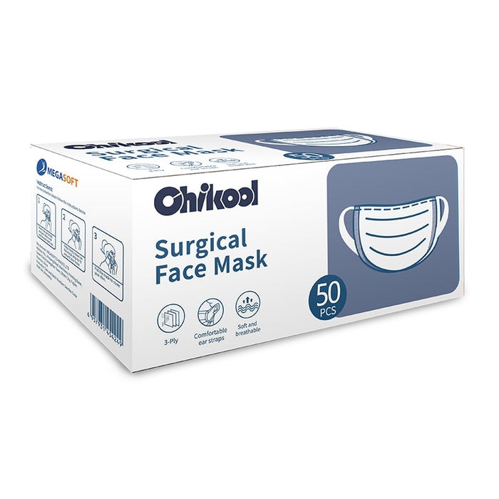 Chikool 3-Ply Surgical Disposable Face Mask [50 Pcs] - BFE ≥ 95%, FDA Approved