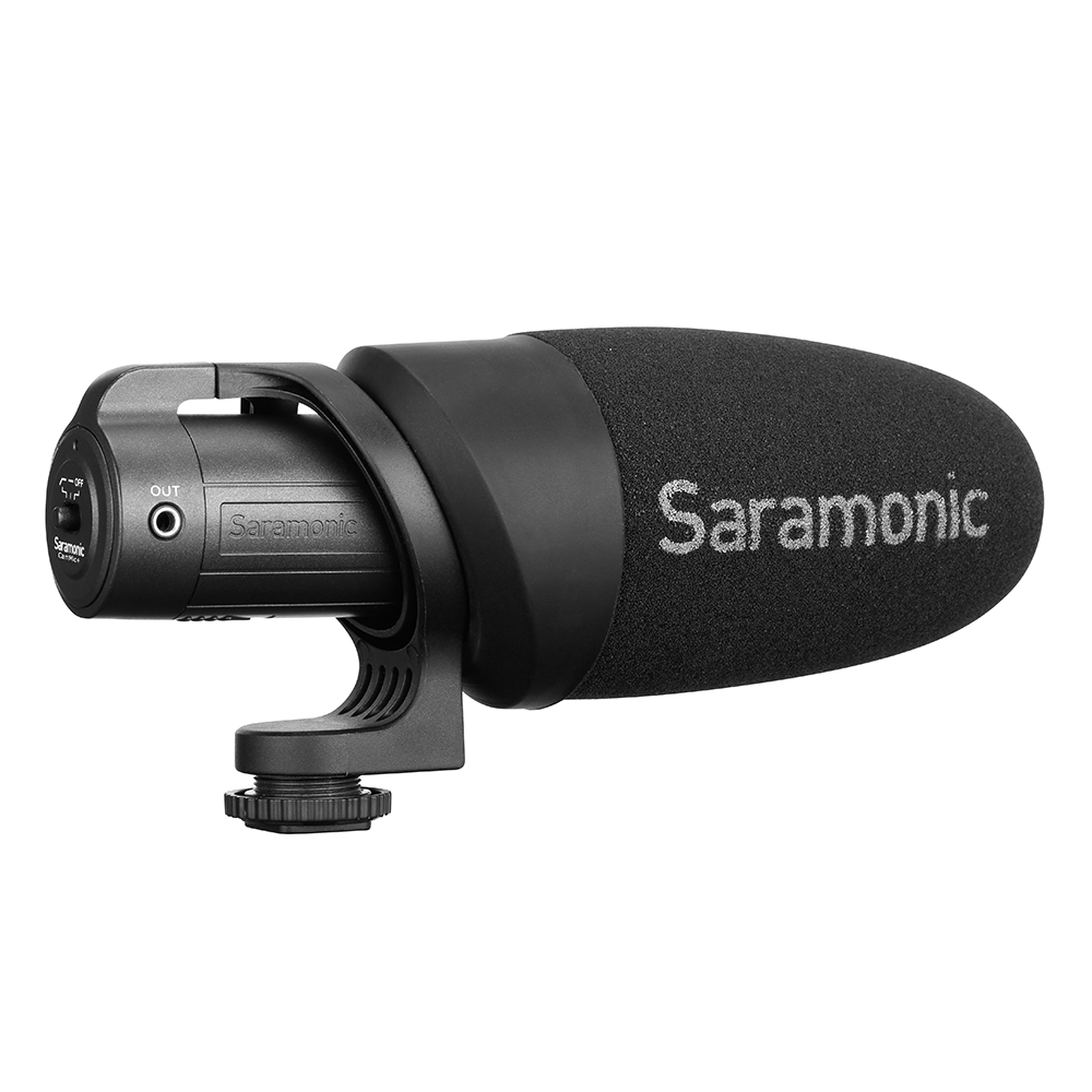 CamMic+ On-Camera Battery-Powered Shotgun Microphone for DSLR, Mirrorless and Video Cameras or Smartphones and Tablets