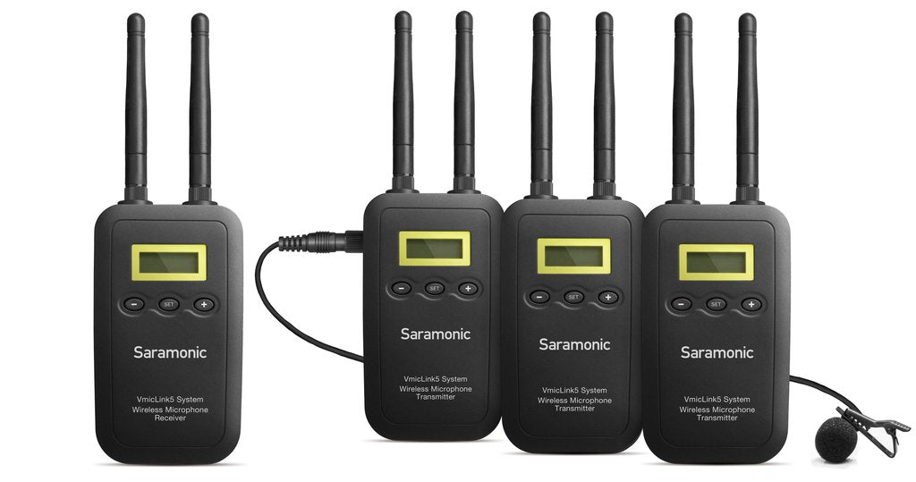 VmicLink5 RX+TX+TX Two-Channel 5.8GHz Wireless Lavalier System for DSLR, Mirrorless and Video Cameras