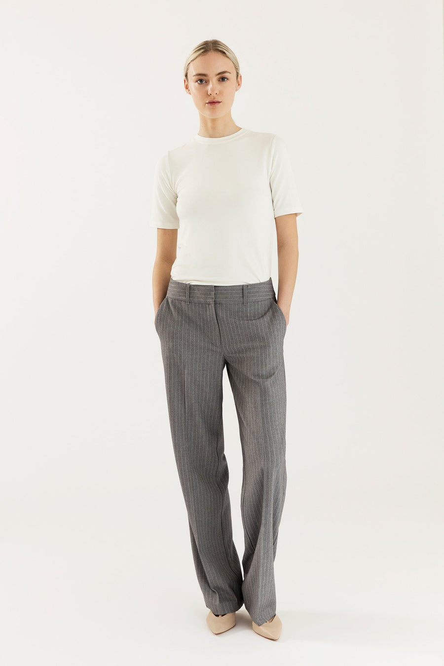 BRIXTON TROUSERS - GREY PINSTIRPE