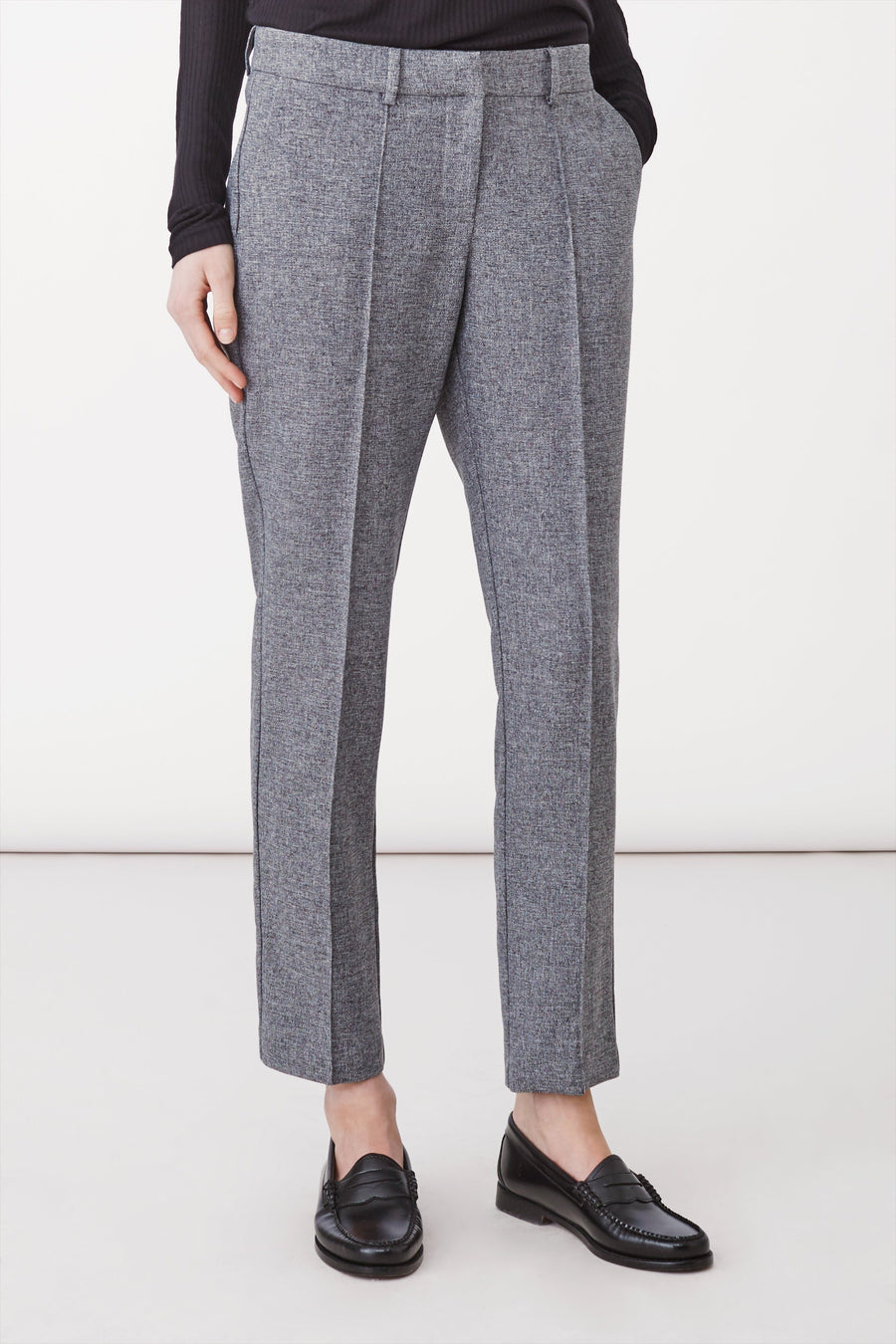 BELTON TROUSERS - GREY PINSTRIPE