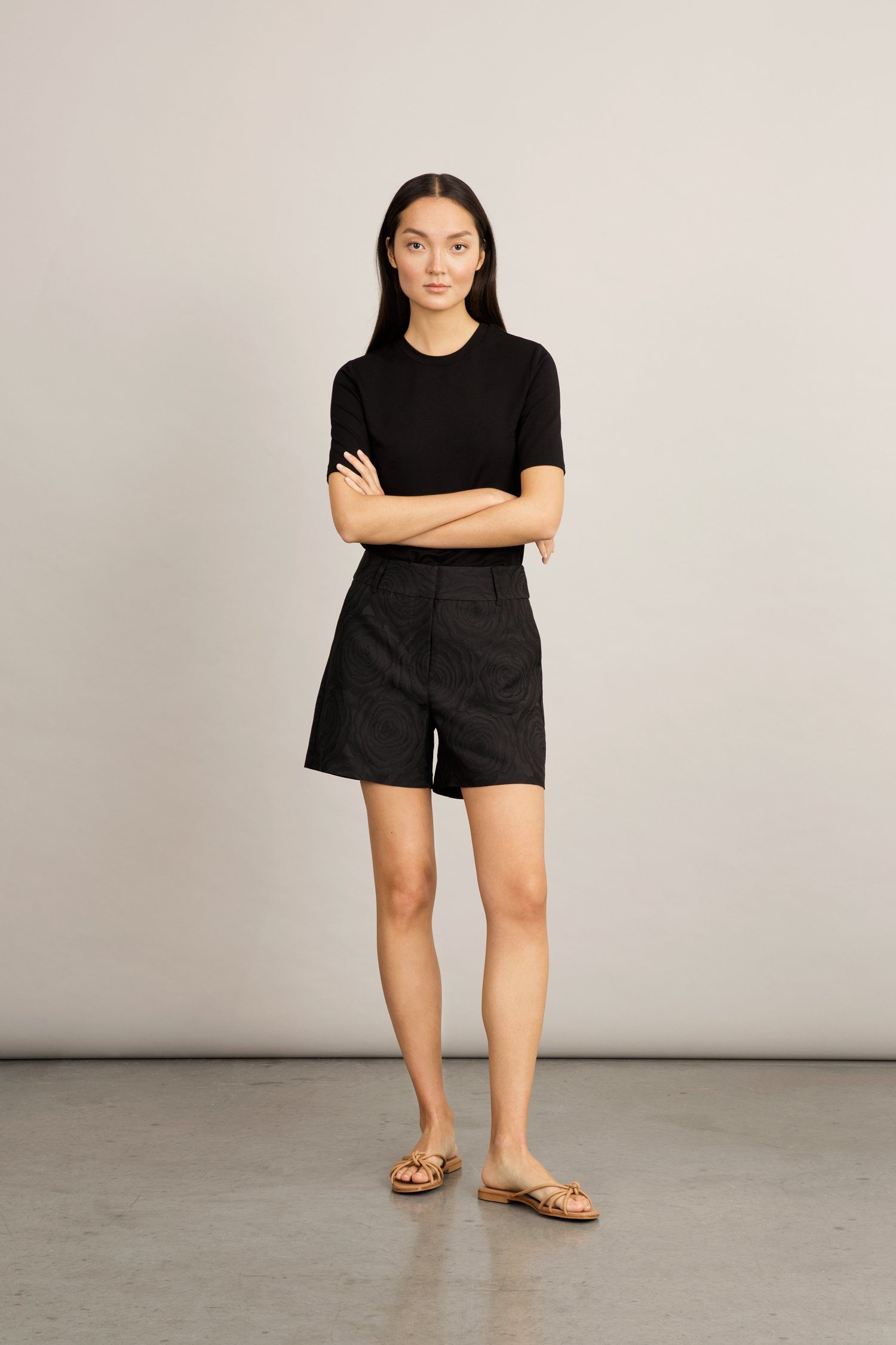 BOCA SHORTS - BLACK JACQUARD Trousers Stylein