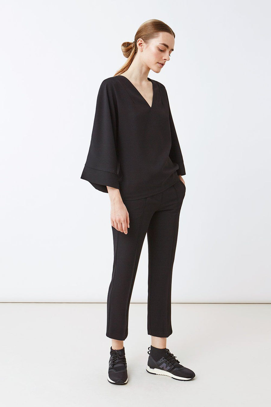 BASTILLE BLOUSE - BLACK SATIN