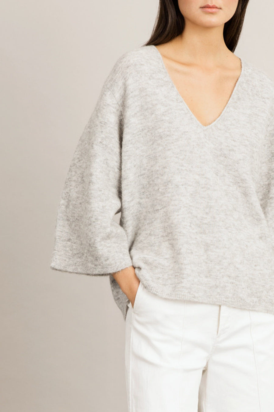 ENNA SWEATER - LIGHT GREY Knitwear Stylein